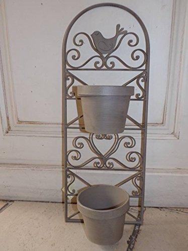 Jardin D\'Ulysse - Support Métal Taupe 1 Oiseau pour 2 Caches Pots Jardin D\'Ulysse