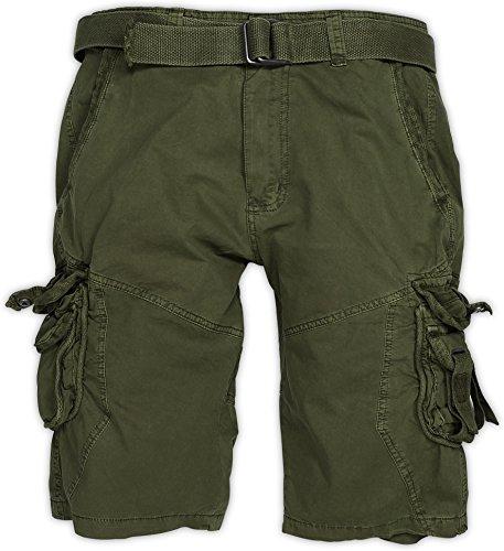 normani Herren Bermuda Vintage Cargo Short Farbe Oliv Größe L (Herren Grün Cargo-shorts Für)
