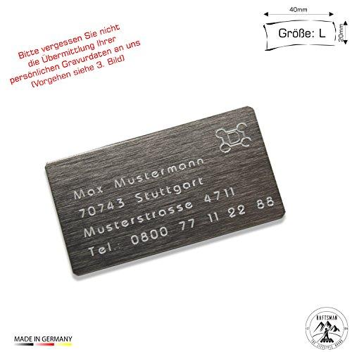 Drohnenkennzeichen / Drohnen Kennzeichnung / Kennzeichen / Fluggerätekennzeichnung / Quadrocopterkennzeichnung inkl. individueller CNC Gravur und doppelseitigem Klebeband (Aluminium Edelstahl Look klein)