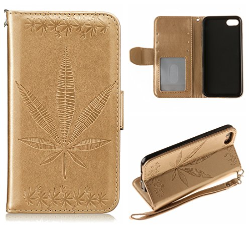 Voguecase Pour Apple iPhone 7 4,7 Coque, Étui en cuir synthétique chic avec fonction support pratique pour Apple iPhone 7 4,7 (Maple Leaf-Noir)de Gratuit stylet l'écran aléatoire universelle Maple Leaf-Or
