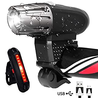 AOMEES LED Bike Light Set, LED Bike Lights Torch Front Headlight & Tail Light USB Rechargeable Front Lights Waterproof