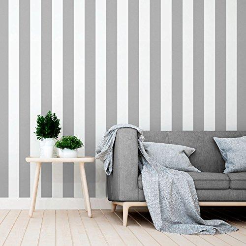 Equipo DRT Siro - Papel pintado a rayas, color gris, 1 rollo
