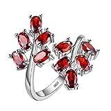 Uloveido Oval geschnitten rote Blume Blatt einstellbar Cocktail-Ring für Frauen, Birth-Stone Ring, Fashion Engagement Hochzeit Promise Ring für Frauen Mädchen J681-Red