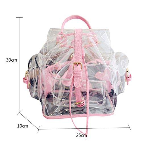 LAHAUTE Mädchen Rucksack Knapsack Transparent Schoolbag gepolsterte Schultergurte Flaschentasche farbige Applikationen für Mädchen und Damen rosa
