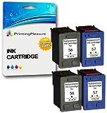 Printing Pleasure 4 Druckerpatronen für HP Photosmart 7260 7350 7450 7660 C4180 C4280 C5280 Deskjet 5550 450CBi Officejet 5610 4215 PSC 1215 1210 1315   kompatibel zu HP 56 (C6656AE) & HP 57 (C6657AE)