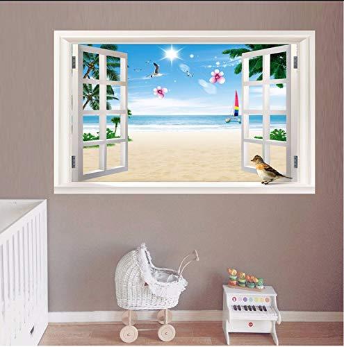 (Lvabc Möwen Strand Kokospalme 3D Fenster Ansicht Aufkleber Strand Thema Wandbilder Kunst Abnehmbare Vinyl Aufkleber Für Wohnzimmer Wanddekor)