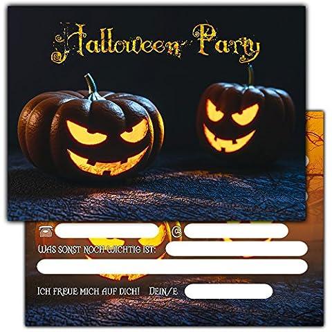 12er Set Halloween Einladungen // Gruselige Kürbis Einladungskarten für eure Halloweenparty // Auch für Kindergeburtstage von Jungen und (Pops Eimer)