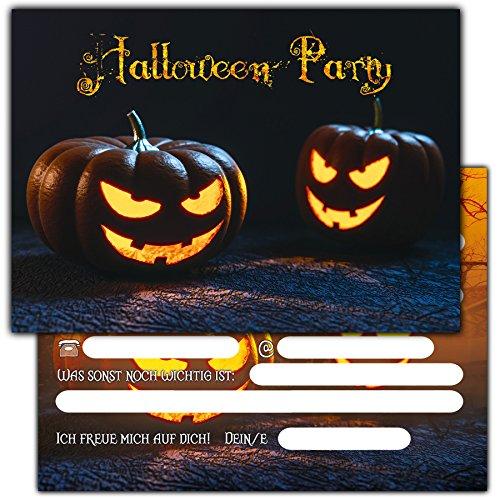 Irrenanstalt Kostüme Halloween (12er Set Halloween Einladungen // Gruselige Kürbis Einladungskarten für eure Halloweenparty // Auch für Kindergeburtstage von Jungen und)