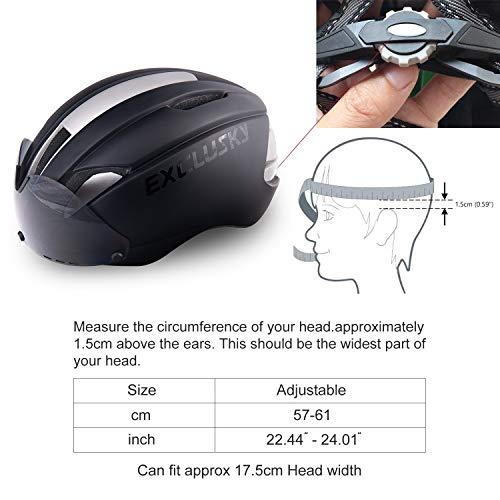Exclusky Fahrradhelm Fahrrad Erwachsene Fahrrad Helme 57 – 61 cm mit Brille (black) - 2