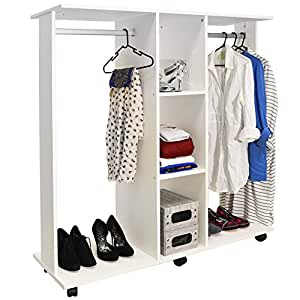 mobile double open wardrobe clothes hanging rail. Black Bedroom Furniture Sets. Home Design Ideas