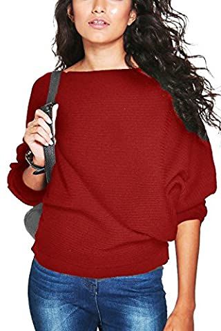 Yidarton Pull Femme Chandails à Manches Longues Casual Col Rond Pull en Maille Sweater Jumper Tops Tricots (S, Bourgogne)