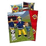 3 tlg. Baby Bettwäsche Wende Motiv: Feuerwehrmann Sam - Flanell 100x135 cm + 40x60 cm plus 1 Spannbettlaken in weiß 70x140 cm