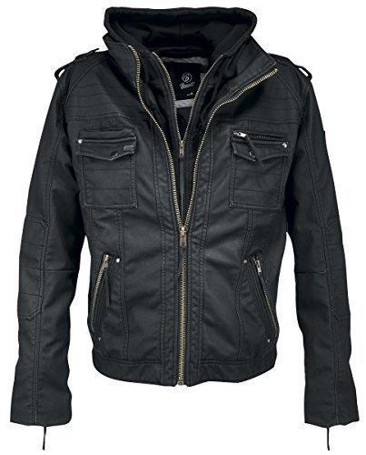Brandit Black Rock Vintage Leather Jacket Herren Jacke, Schwarz XL