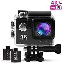 Action Cam 4K, Sport 4K Action Camera WIFI Full HD 12MP, Fotocamera Subacquea 4k Impermeabile WebCamera 170°Grandangolare 2.0 Pollici due 1050mAh Batterie e Kit Accessori (Nero)