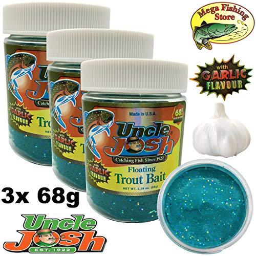 Uncle Josh USA Trout Bait 3er Pack - 3X 68g - Forellenteig/Schwimmteig - Knoblauch/Garlic Flavour Neon-Blau Glitter - 3er Pack (3X 68g) -
