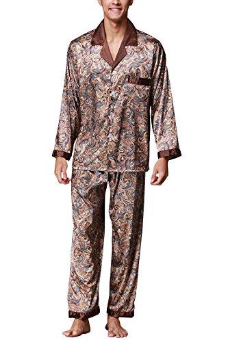 Dolamen Herren Schlafanzug, Satin Retro Druck Lang Zweiteiliger Pyjamas  Frühling Sommer, Herren Schlafanzug mit