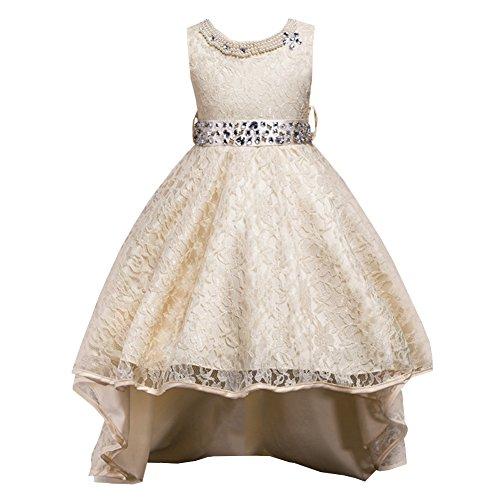 Lserver-abito in pizzo con coda ragazza con diamanti bambine vestito principessa abiti da sera matrimonio cerimonia