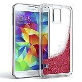EAZY CASE GmbH Samsung Galaxy S5 / S5 LTE+ / S5 Duos / S5 Neo Schutzhülle mit Flüssig-Glitzer, Handyhülle, Back Cover mit Glitter Flüssigkeit, aus TPU/Silikon, Transparent/Durchsichtig, Rosa