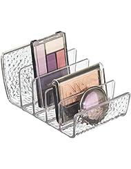 iDesign rangement maquillage, petite boîte de rangement en plastique pour maquillage avec 5 compartiments, bac de rangement vertical pour poudres, fards ou vernis, transparent