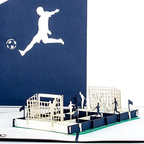 """Pop Up Karte""""Fußballfan"""" Blau & Weiß - 3D Fußball Karte Schalke, Hamburg, Berlin ? Fußball Geburtstagskarte, Einladung"""