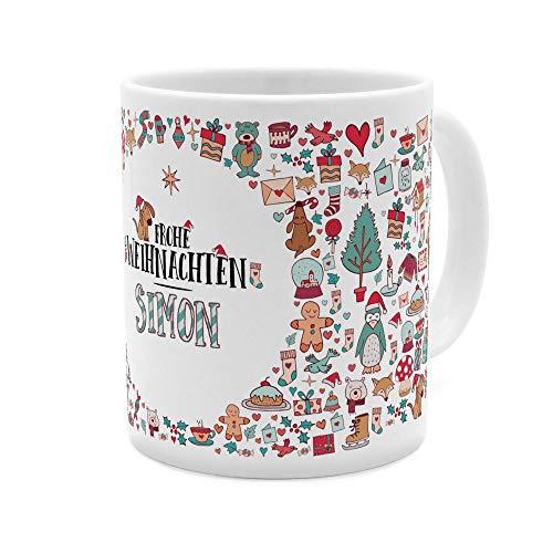 printplanet Tasse mit Namen Simon - Motiv Frohe Weihnachten - Namenstasse, Kaffeebecher, Mug, Becher, Kaffeetasse - Farbe Weiß