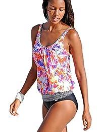 ASSKDAN Damen Elegant Farbdruck Top + Slip Tankinis Bademode große größen Bikini-Sets