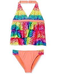 Angel Beach Girl's Sonic 3 Tier Ruffle Front Halter Tankini Swimsuit 4-6X-5-AB16-Mlt