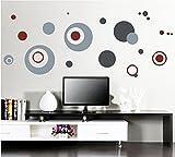Élégant Sticker mural rond Cercles Gris Maison en papier peint amovible Salon Chambre Cuisine Art Images murales décoration de porte de fenêtre en PVC + Cadeau Grenouille 3D autocollant pour voiture
