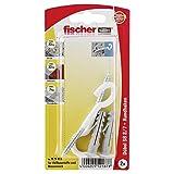 Fischer 052187 8/7 K Karte, Inhalt Dübel SB 8, 2 x Rundhaken 5,5 x 80 weiß, nylonbeschichtet