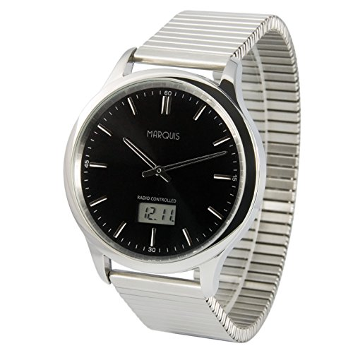 MARQUIS Herren Funkuhr, Gehäuse und Armband aus Edelstahl, Armbanduhr, Junghans-Uhrwerk 964.6321