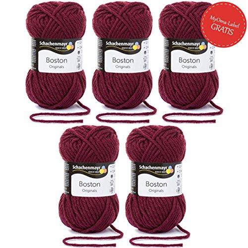 Boston Wolle (MyOma Boston Wolle Schachenmayr Garn - 5 Knäuel bordeauxrote Wolle Stricken häkeln Nadelstärke 7-8 mm - Schachenmayr Wolle Boston Burgund (Fb 132) - Wolle für Anfänger - 50 g/Knäuel + GRATIS Label)