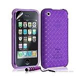 Seluxion - Housse étui coque souple tressée transparent pour Apple Iphone 3G/3GS couleur violet + mini stylet + Film protecteur