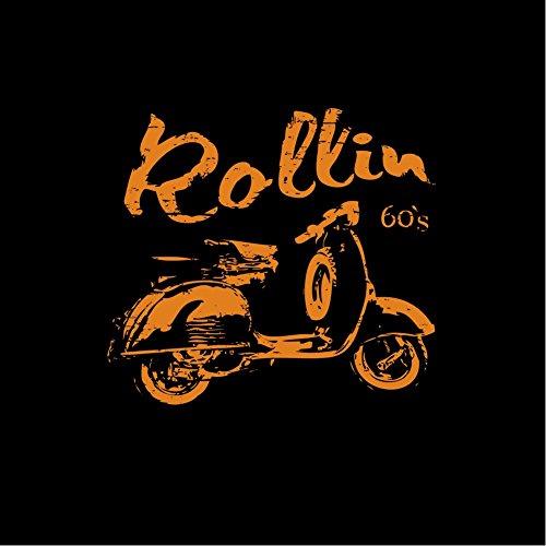 Scooter Roller T-Shirt für Herren schwarz - ROLLIN 60`s - Größe S-XXXL Schwarz