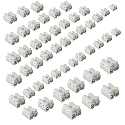 50 Stück/pack Weiß CH2 Federverbindungsstück, Klemmverbinder Kabel Stecker Drahtklemmen, Schnellanschlussklemme, die LED Streifen Licht Draht Anschluss, 2 Pins Kabel Stecker -