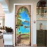 Etiqueta de la puerta Panel de jardín junto al mar pintura de pared calcomanías de papel pintado decoración del hogar 77 * 200cm