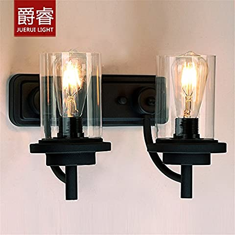 Larsure Vintage Industrial Style Wall Sconce Wall Light Lamp Mirror front lights bathroom bathroom glass lamp cover bedroom double wall lamp iron, 360mm *