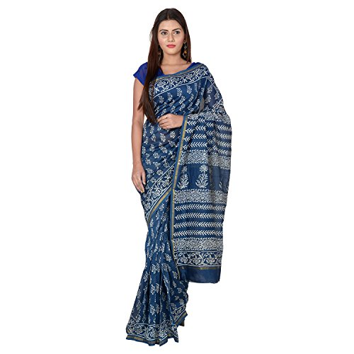 Panvi Chanderi Silk Cotton Saree With Blouse Piece (P-77_Indigo Blue _Free Size)
