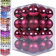 36 Weihnachtskugeln Box Christbaumschmuck aus Kunststoff (matt & glänzend) - Farb und Größenwahl -