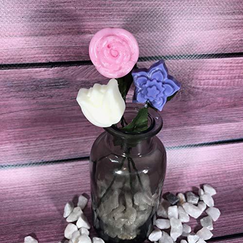 Personalisierte Soja-kerzen (3 kleine Blüten in Soja-Wachs mit Rosen-, Lavendel- und Jasminparfüm mit Stammgeschenkidee Muttertag-Hausdekorationstorte zum Verbrennen von Duft für zu Hause)