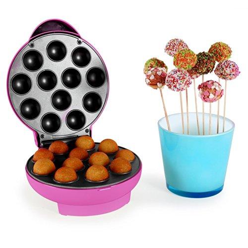 oneConcept Boogie Pop Cake Maker • Cake-Pop Maker • 1300 Watt • 12 Pop-Cakes pro Backvorgang • 3,5 cm Durchmesser • Backzeit 5-7 Minuten • Antihaftbeschichtung • Signalleuchten • rutschfeste Gummifüße • Kabelhalterung • automatischer Backtimer • pink (Waffel Cup Maker)