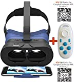 VR-PRIMUS GO + Bluetooth remote control - Virtual Reality Headset - with button to control apps, headband and case - Compatible with Android and iOS Smartphones like iPhone, Samsung, HTC, Sony, LG, Huawei, Motorola, ZTE etc. - Compatible with Google Cardboard apps - 3D VR video glasses goggles