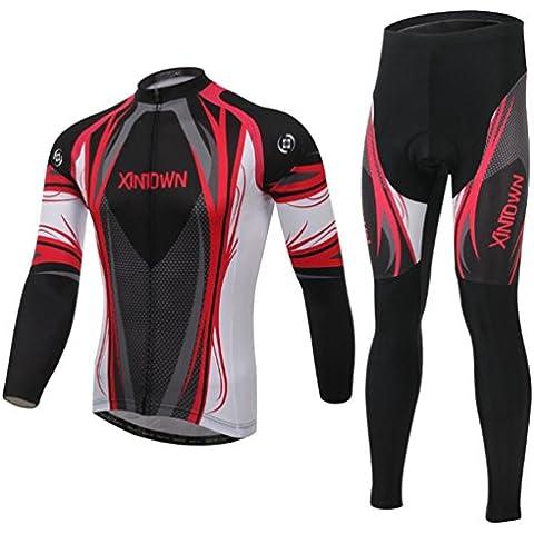 Wylang Unisex Traspirante Manica Lunga bici Abbigliamento Full Zip Suit