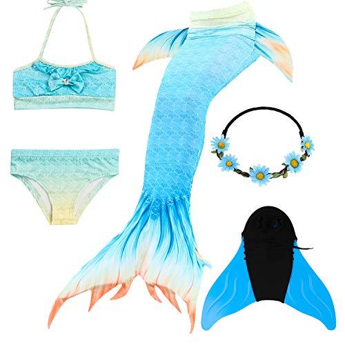 COZY HUT Meerjungfrau Schwanz mit Meerjungfrau Badeanzug Schwanzflosse Zum Schwimmen Kostüm Für Kinder Mädchen Bikini Set und Monoflosse, 5 Stück Set