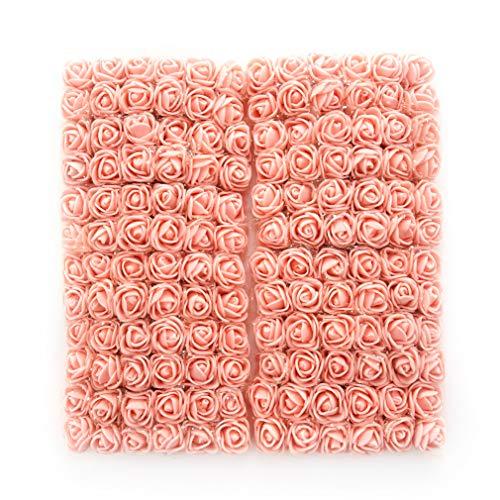 Pfirsich-schaum (Künstliche Rosen, Blumenköpfe, künstliche Rosen, zum Selbermachen, 144 Stück, Rosen, Hochzeit, Brautstrauß aus PE-Schaum, DIY Party, Festival, Heimdekoration, Rosen pfirsich)