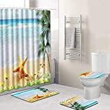 Hunpta@ Lot de 4 Tapis de Bain antidérapants en Polyester pour abattant de WC Vert...