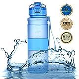 Tomppow Trinkflasche 1l Wasserflasche 1000ml Sport Tritan Sportflasche Freigetestet BPA