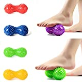 1Pc Peanut Spiky Massage Ball Roller,Woopower Foot Massage Ball Roller for Feet and Hand - Fitness Yoga Exercises Ball Reflexology Therapy Relax - Random Color