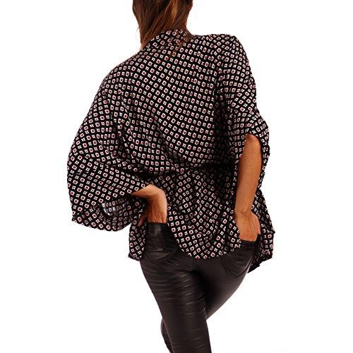 Wickelbluse in Kimono-Form Blusenjacke Bluse in Jackenform mit Gürtel Schwarz/Rot