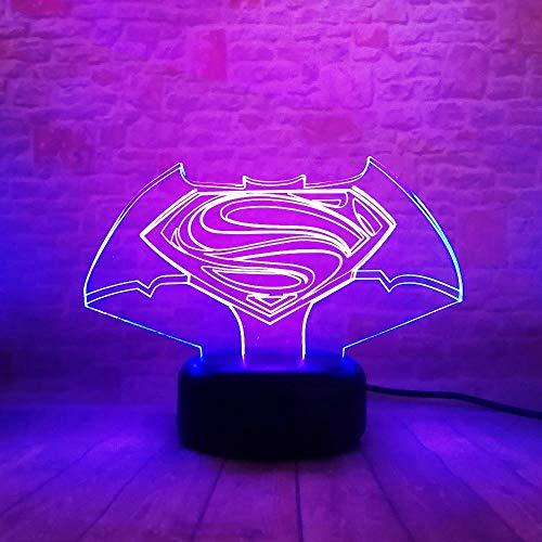 ZNNYE 3D Nachtlichter Kids Home New Bunte Vision Superman Mit Symbol Touch Farbverlauf Ändern Licht Usb Weihnachten Halloween Freunde Geschenk Lichter