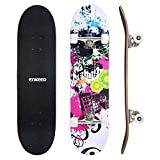 Enkeeo Skateboard Komplettboard 32 x 8 Zoll mit ABEC-9 Kugellager, Drop-Through Longboard Ahornholz Board, Belastung 220 Pfd.